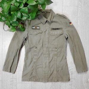 Vintage Olive Green Military Jacket